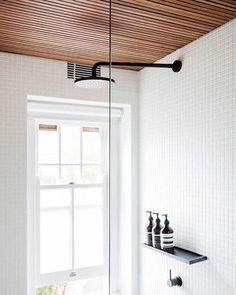 Planning on adding a timber ceiling into your home? It can be a striking element and add such warmth to your interior! Timber Ceiling, Holiday Apartments, Family Bathroom, Home Reno, Master Bath, Track Lighting, Home And Garden, Woodworking, Ceiling Lights