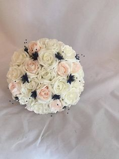 Brides Bouquet Blue (navy) and Blush Bridal Sparkle Pins wedding  artificial  Foam roses  flowers