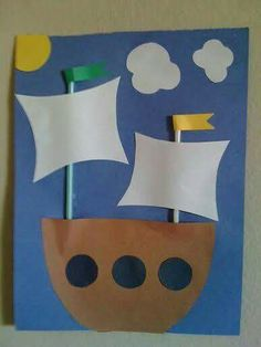 MayFlower Ship - 18 DIY Thanksgiving Crafts for Kids to Make. (hehe, I thought it was a pirate ship at first -- I guess it could be easily modified to be one! Kids Crafts, Easy Preschool Crafts, Boat Crafts, Thanksgiving Crafts For Kids, Daycare Crafts, Crafts For Kids To Make, Preschool Art, Toddler Crafts, Preschool Activities