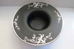 Vintage Rockwell Silver Parrot Overlay Black Satin Glass Bowl 20's-30's