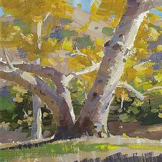 Mike Hernandez Quick study from Griffith Park, Bette Davis Park, 6x6 gouache