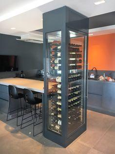 Glass Wine Cellar, Wine Cellar Racks, Home Wine Cellars, Wine Cellar Design, Küchen Design, House Design, Wine Cellar Basement, Architectural Design House Plans, Wine Wall