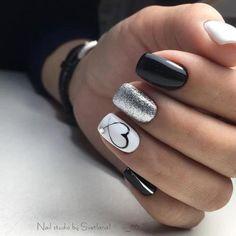 Kinds of Makeup Nails Art Nail Art 134 - Nails - # MakeupNä . , types of makeup nails art nail art 134 - nails - # Makeup nails # nails New Nail Designs, Black Nail Designs, Heart Nail Designs, White Nails With Design, Nail Polish Designs, Fun Nails, How To Do Nails, Love Nails, White And Silver Nails