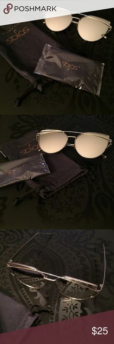Sojos Mirrored Sunglasses Sojos cat eye sunglasses are in excellent condition, like new. Worn one time. They are just too wide for me. Silver mirrored lenses with silver chrome frames. Comes with dust bag and brand new never used cloth. All pics are mine. sojos Accessories Sunglasses