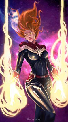 Captain Marvel by nikoenkei on DeviantArt Comic Book Characters, Marvel Characters, Marvel Movies, Comic Character, Comic Books Art, Comic Art, Marvel Girls, Ms Marvel, Marvel Avengers