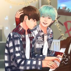 """Calm down. It takes awhile to get good in piano.""  #sugakookie #yoonkook"
