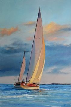 Original Oil Painting on canvas with palette knife and brush. Back - wrapped, stretched canvas, black painted edges, READY TO HANG *Title: Sailing