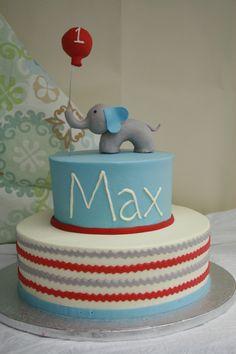 Elephant and chevron 1st birthday cake. Dessert Works Bakery. Westwood, MA