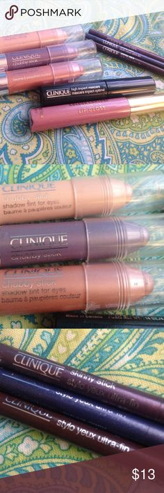 Clinique eye set with bonus lip gloss 3 Clinique chubby stick shadow tints, 3 Clinique skinny stick eyeliners, Clinique high impact mascara (travel sizes)WITH BONUS Amelia Knight cosmetics Lip gloss NEGOTIABLE AND LOVE TRADING Clinique Makeup