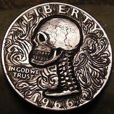 BEN WELLS HOBO QUARTER - SKULL - 1966 WASHINGTON QUARTER Wells, Washington, Coins, Skull, Carving, Rooms, Wood Carvings, Sculptures, Printmaking