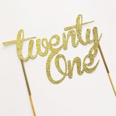 Gold twenty one Cake Topper Centerpiece 21 by sprinkledwithpaper