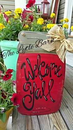 Mason jar door hanger.  Welcome y'all!