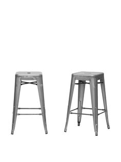 Baxton Studio Set of 2 French Industrial Counter Stools, Gun Metal at MYHABIT