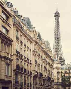 Street View of Eiffel Tower, Paris Art, Travel Photography, Europe, Neutral Beige Home Decor - High Society on Etsy, £18.77