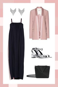 For Parties Like Gatsby'sPair a cascading, floor-length gown with a fancy tuxedo jacket to create a menswear-inspired look that'll knock 'em dead. Metallic kitten heels and art-deco-inspired earrings show you're really committing to the theme.