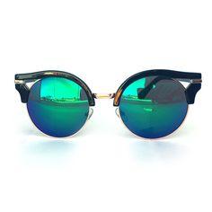 Retro Half Horn Rimmed Mirror Lens Sunglasses (Blue Green)