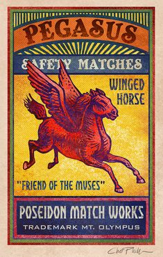 Pegasus Matchbox Art 5 x 7 matted signed print by ChetArt on Etsy