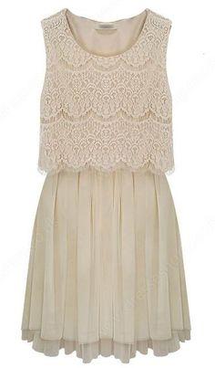 Apricot Sleeveless Crochet Lace Gauze Hem Dress LOVE