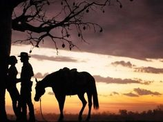 Equestrian Photography Idea: Couple with horse sillohutte