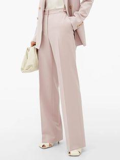 Purple Vesta waist-tab wool-blend crepe trousers   Gabriela Hearst   MATCHESFASHION UK Trouser Suits, Trousers, Gabriela Hearst, Double Breasted, Wool Blend, Duster Coat, Blazer, Collection, Purple