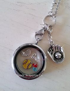 """Customized Floating Locket on Lobster Claw Chain Necklace with ONE Sport Ball Charm, """"love"""" Charm, Rhinestone Heart and Two Crystal Charms.  www.facebook.com/sportsandsparkle"""