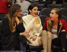 Cara Delevingne joins Khloe Kardashian and Kendall Jenner at NBA game #dailymail