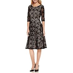 FREE SHIPPING AVAILABLE! Buy Signature by Sangria 3/4-Sleeve Lace Fit-and-Flare Dress at JCPenney.com today and enjoy great savings.