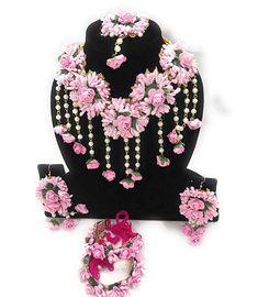 pink and white flower jewellery gota patti set necklace, Earrings, Bracelet,mangtika 6 pieces jewellery set,flower set Flower Jewellery For Mehndi, Fancy Jewellery, Flower Jewelry, Handmade Jewellery, Flower Necklace, Earrings Handmade, Jewelry Design Earrings, Pink Jewelry, Fabric Jewelry