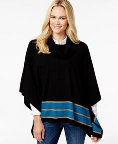 Charter Club Border-Trim Poncho Sweater, Only at Macy's