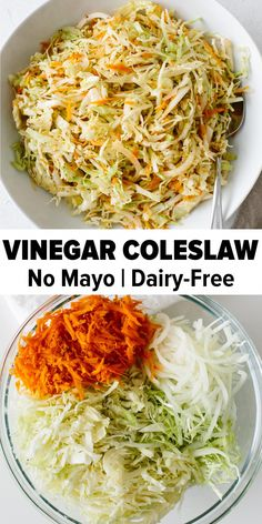 Vinegar Coleslaw is an excellent no mayo coleslaw recipe for those who love coleslaw but dont love mayonnaise. This vinegar based coleslaw is tangy not overly sweet and provides the perfect crunch with its combination of green cabbage onion and carrots. Veggie Dishes, Vegetable Recipes, Vegetarian Recipes, Healthy Recipes, Vegetarian Soup, Vegetarian Breakfast, Whole Food Recipes, Cooking Recipes, Recipes For Cabbage