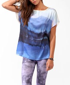 Relaxed Scenic Graphic Top - Forever21 $17.80