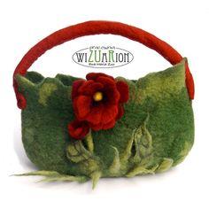 Felted flower handbag bag handmade