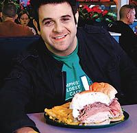 """""""The Dagwood"""", all 2½ pounds of ham, turkey, roast beef and cheese, along with 1 pound of french fries.   Ohio Deli & Restaurant. Columbus, OH"""