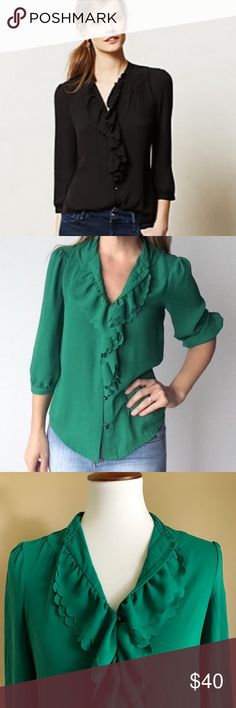 | anthropologie | HD in Paris Kelly green ruffled blouse with metallic ball beads. Anthropologie Tops Blouses