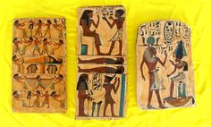 """Juego de tres tablillas de madera prensada pintadas a mano con motivos del antiguo Egipto / Egyptian wood panels hand painted and cut into irregular rectangular shape, as if they came from an excavation of the ancient Egypt. Measuring approximately 13"""" x 8 ¼ """", 16 ½"""" x 7 ¼"""" and 14 x 8 """""""