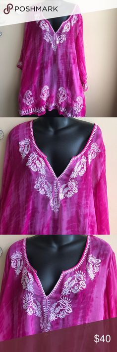 Embroidered tunic cover up plus size Stroll around the piece or lounge around the pool in this gorgeous cover up . Beautiful colors with intricate embroidered. Swim Coverups
