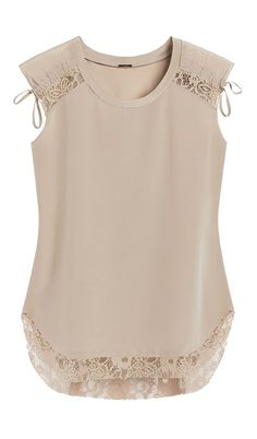 Little details make this silk top undeniably feminine, like lace and ruched accents. Little details make this silk top undeniably feminine, like lace and ruched accents. Mode Style, Style Me, Fashion Clothes, Fashion Dresses, Casual Outfits, Cute Outfits, Lace Tops, Refashion, Blouse Designs