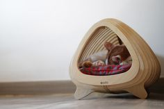 Modern And Ergonomic Fish Born Cat House - DigsDigs Small Cushions, Red Cushions, Modern Cat Furniture, Contemporary Furniture, Wood Dog Bed, Fisher Cat, Geometric Cat, Aquarium, Wooden Cat
