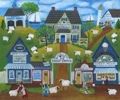Cheryl Bartley Farm Paintings, Landscape Paintings, Baa Baa Black Sheep, Sheep Farm, Cottage Art, Naive Art, Country Art, Barn Quilts, Colorful Paintings