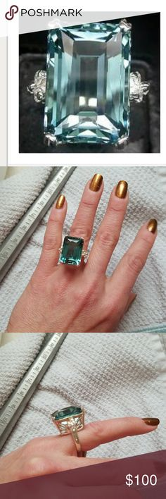 Green / blue aquamarine 925ring large stone Very hard size to find 5 gorgeous ring never used as you can see from the pictures purchase in Thailand CZ 925 sterling silver gorgeous ring my camera's not picking up all the sparkle final sale. Heated treated stone AAA Jewelry Rings