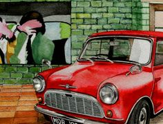 watercolour of a little red mini in a mews garage in the 1960's with a painting by Richard Hamilton
