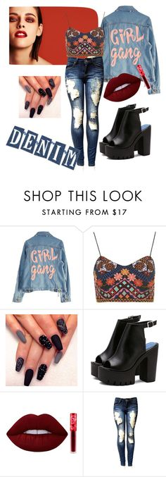 """""""Denim💋"""" by lurey-grace-agilles ❤ liked on Polyvore featuring Chanel, High Heels Suicide, Topshop and Lime Crime"""