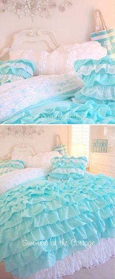 DIY Shabby Chic Ruffles Bedding   http://diyready.com/12-diy-shabby-chic-bedding-ideas/