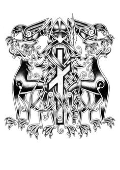 Odin Urnes style tattoo by Sigrulfr.deviantart.com on @deviantART