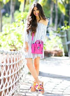 striped dress with with pom pom sandals