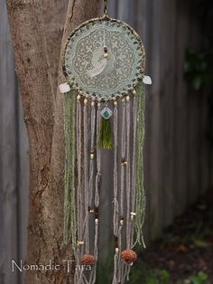 Green Brown Feather & Coin Doily Dreamcatcher by nomadictara, $65.00