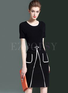 Shop for high quality Brief Monochrome Knitted Patched Bodycon Dress online  at cheap prices and discover fashion at Ezpopsy.com d8c700549c