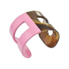 Hermes Pink Lacquer and Horn H Cuff | 1stdibs.com #1DHoliday
