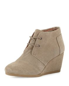 Toms Taupe Suade Wedges Women Size 6 Cool In Summer And Warm In Winter Heels