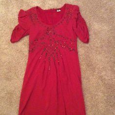 NWOT Nanette Lepore dress never worn NWOT red arrow studded Nanette Lepore dress. Ruched 3/4 length sleeves Nanette Lepore Dresses